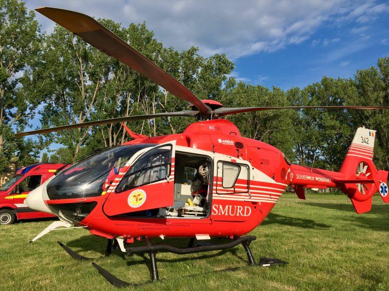 Bărbat în stare critică preluat de elicopterul SMURD