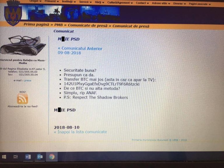 Atac informatic pe site-ul Primăriei Municipiului București. Hackerii au publicat sloganul anti-PSD