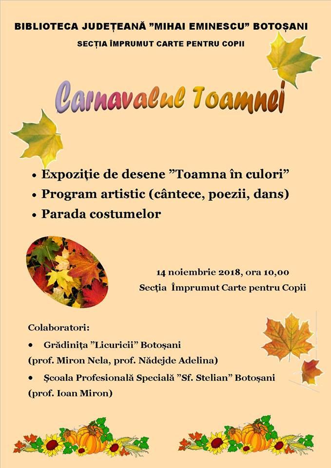 """""""Carnavalul Toamnei"""" revine la bibliotecă"""