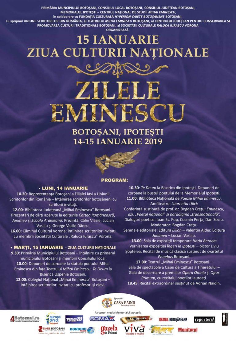 A fost definitivat programul Zilelor Eminescu