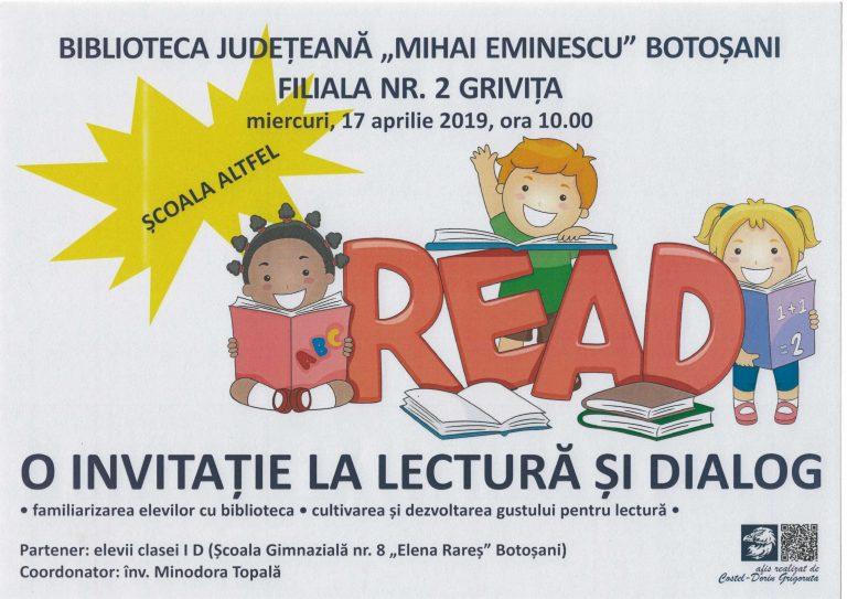 """Filiala Griviţa a Bibliotecii Judeţene lansează """"O invitaţie la lectură şi dialog"""""""