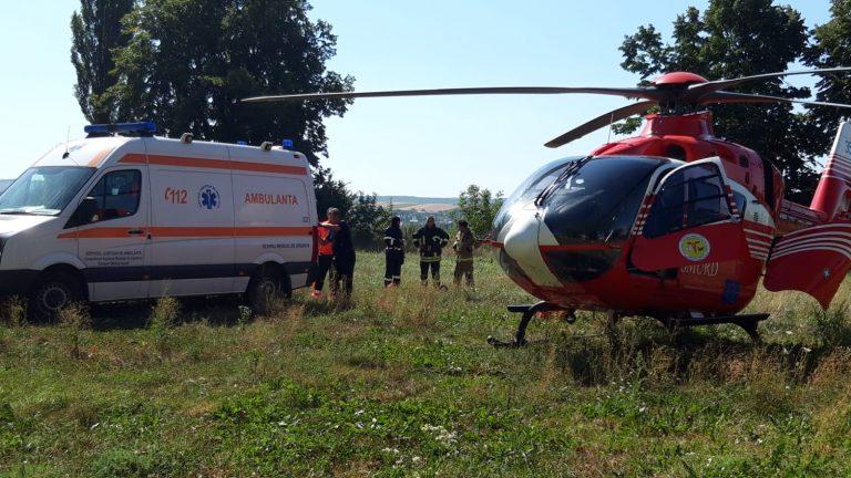 Transport aerian pentru un bolnav grav (video)
