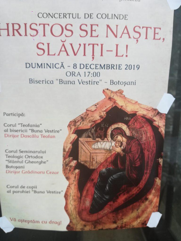 """Astăzi – Concert de colinde la Biserica """"Buna Vestire"""""""