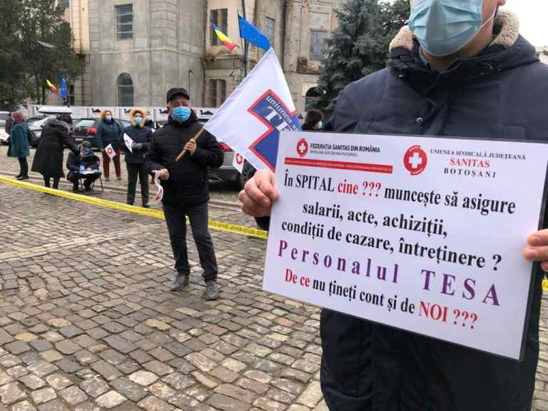 Protest al personalului medical din spitale (video)