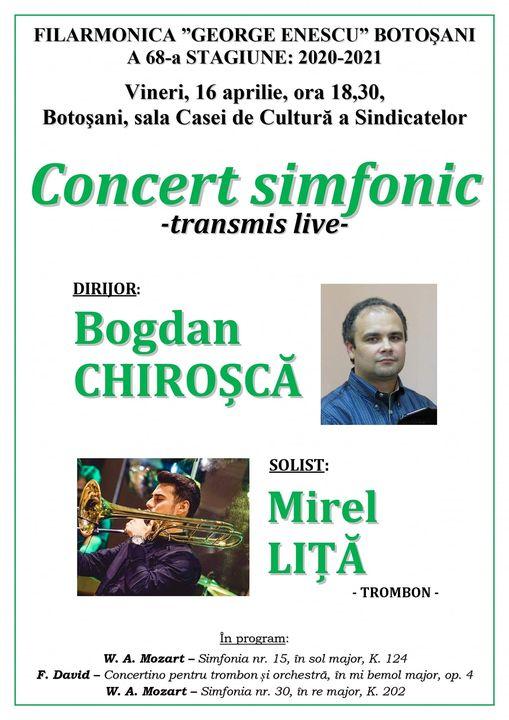 Concert simfonic transmis live de Filarmonică