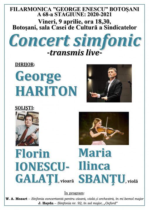 Concert online la Filarmonica Botoşani