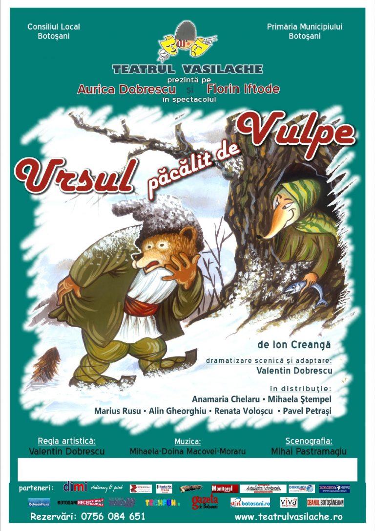 """Ursul păcălit de vulpe, la Teatrul """"Vasilache"""""""
