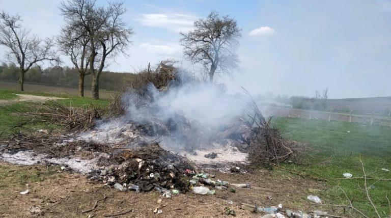Amendă de 20.000 de lei pentru incendierea unor deșeuri