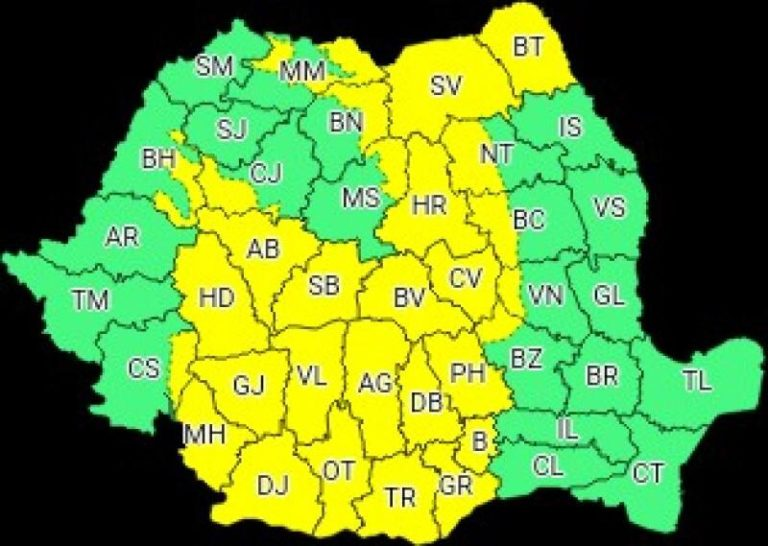 Cod galben de instabilitate atmosferică la Botoșani