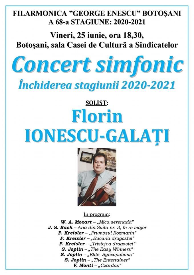"""Filarmonica """"George Enescu"""" închide stagiunea cu un concert deexcepție"""