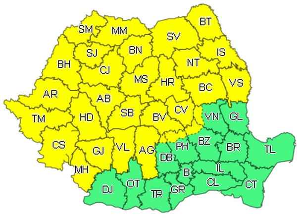 Patru coduri galbene pentru județul Botoșani