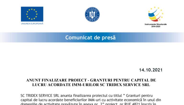 ANUNT FINALIZARE PROIECT – GRANTURI PENTRU CAPITAL DE LUCRU ACORDATE IMM-URILOR SC TRIDEX SERVICE SRL